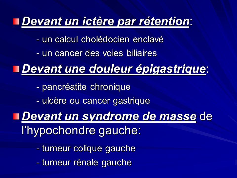Devant un ictère par rétention: - un calcul cholédocien enclavé - un cancer des voies biliaires Devant une douleur épigastrique: - pancréatite chroniq