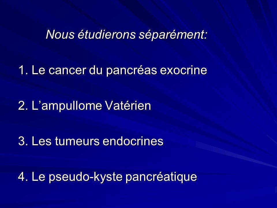 Nous étudierons séparément: Nous étudierons séparément: 1. Le cancer du pancréas exocrine 2. Lampullome Vatérien 3. Les tumeurs endocrines 4. Le pseud