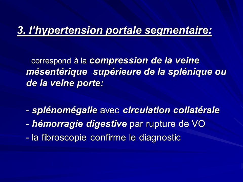 3. lhypertension portale segmentaire: correspond à la compression de la veine mésentérique supérieure de la splénique ou de la veine porte: correspond
