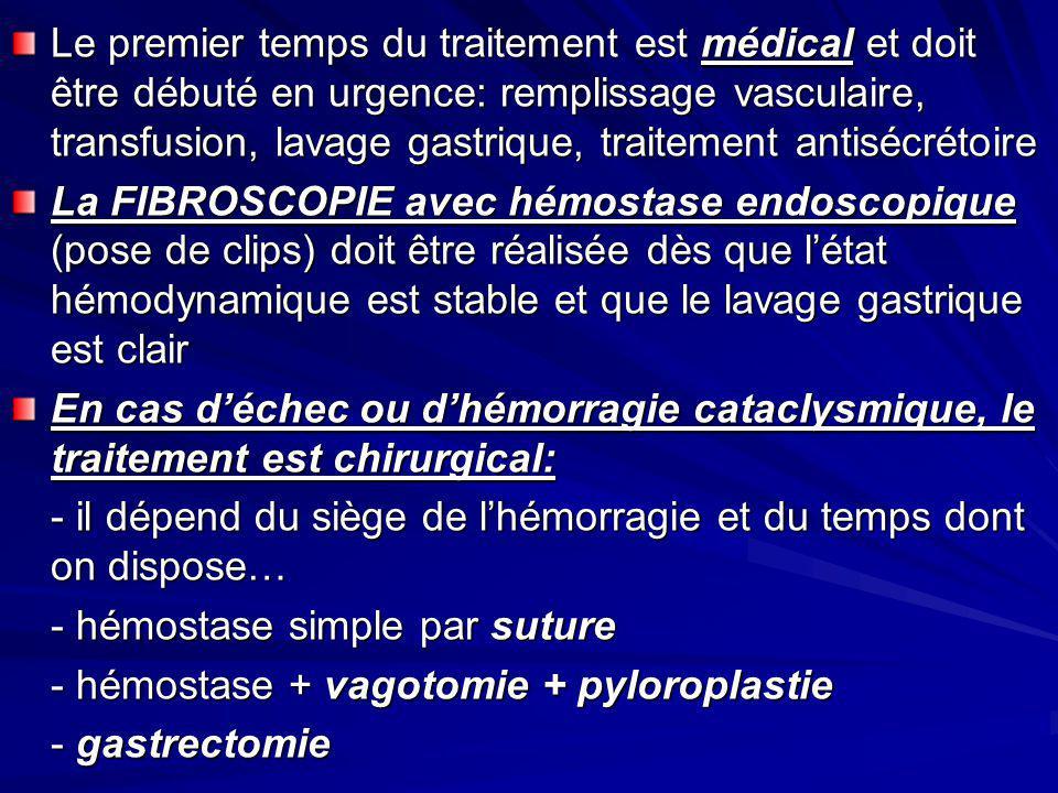 Le premier temps du traitement est médical et doit être débuté en urgence: remplissage vasculaire, transfusion, lavage gastrique, traitement antisécré