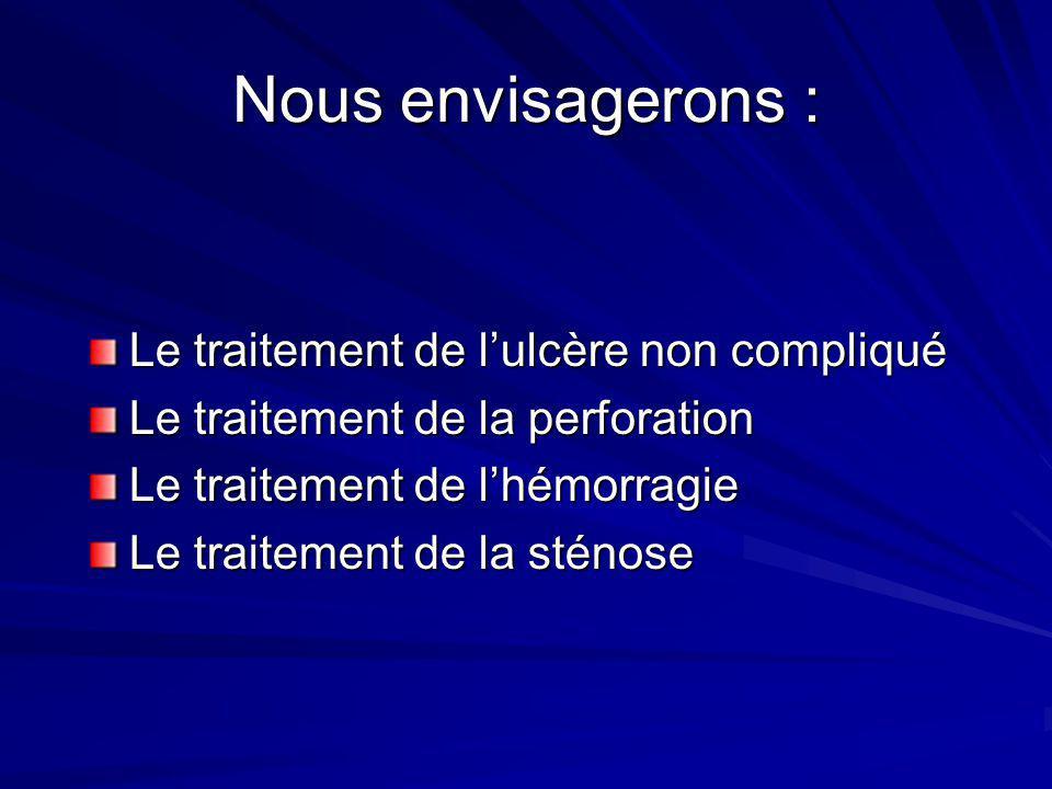 Nous envisagerons : Le traitement de lulcère non compliqué Le traitement de la perforation Le traitement de lhémorragie Le traitement de la sténose