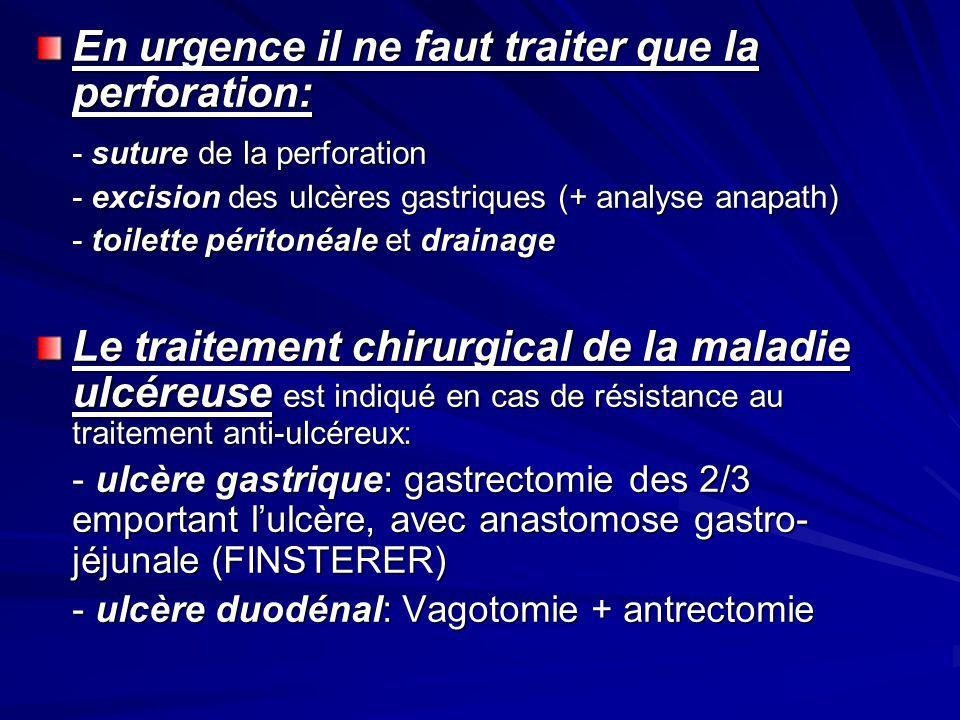 En urgence il ne faut traiter que la perforation: - suture de la perforation - excision des ulcères gastriques (+ analyse anapath) - toilette péritoné