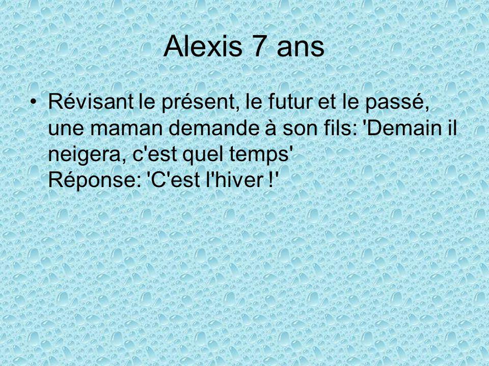 Alexis 7 ans Révisant le présent, le futur et le passé, une maman demande à son fils: Demain il neigera, c est quel temps Réponse: C est l hiver !