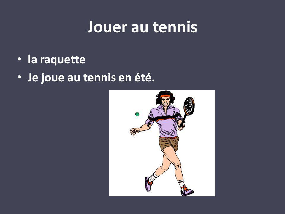 Jouer au tennis la raquette Je joue au tennis en été.