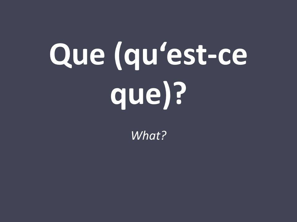 Que (quest-ce que)? What?