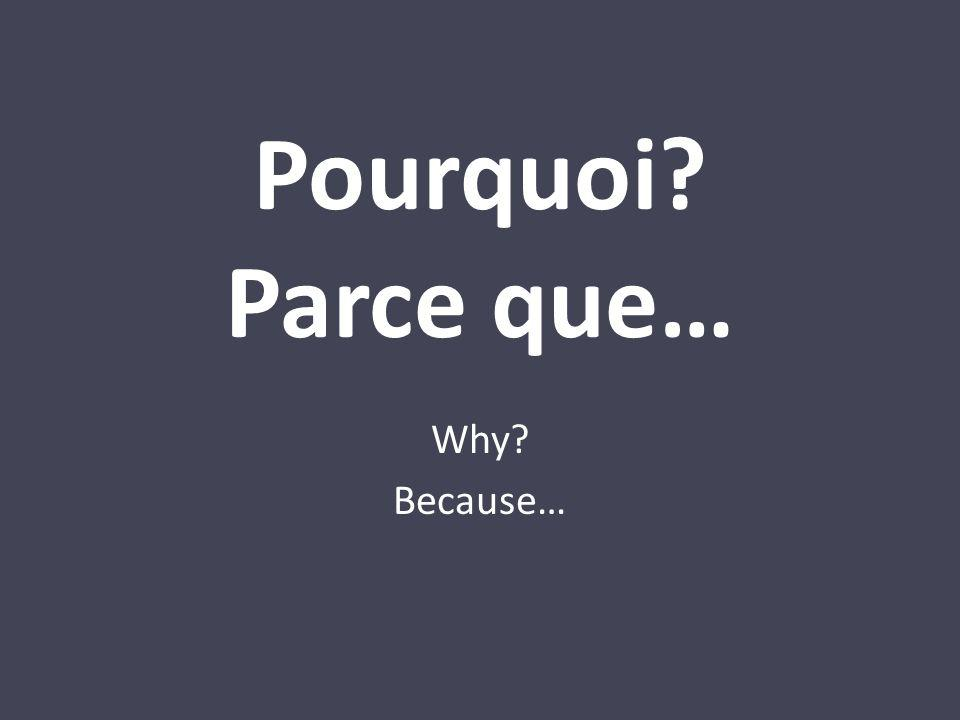 Pourquoi? Parce que… Why? Because…