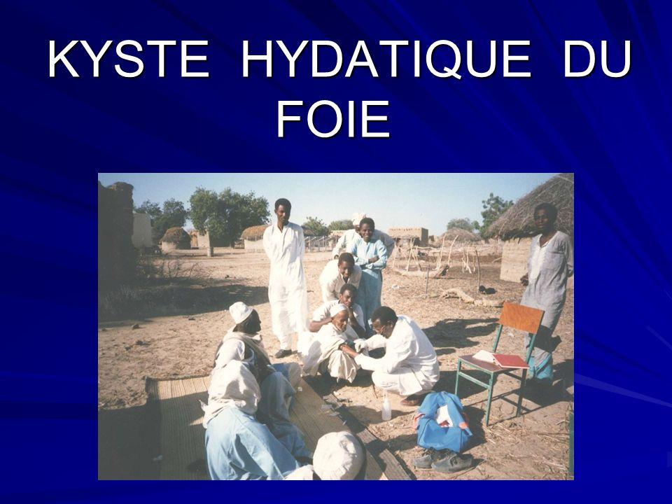 Le kyste hydatique du foie (KHF) est du au développement intra-hépatique de la larve du taenia échinococcus granolusus.
