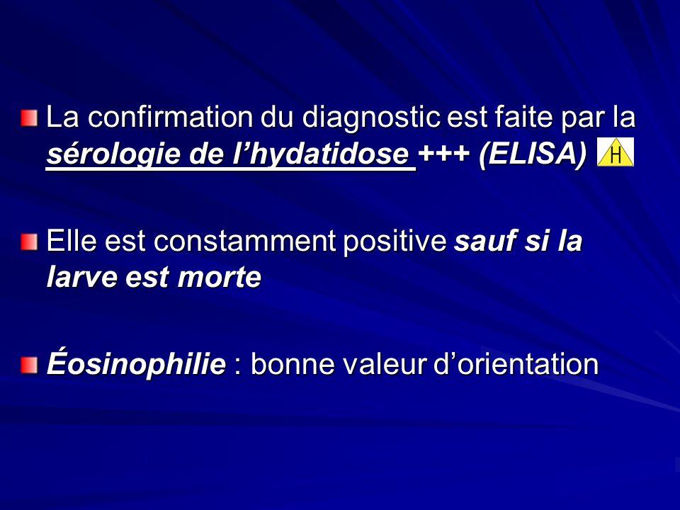 La confirmation du diagnostic est faite par la sérologie de lhydatidose +++ (ELISA) Elle est constamment positive sauf si la larve est morte Éosinophi