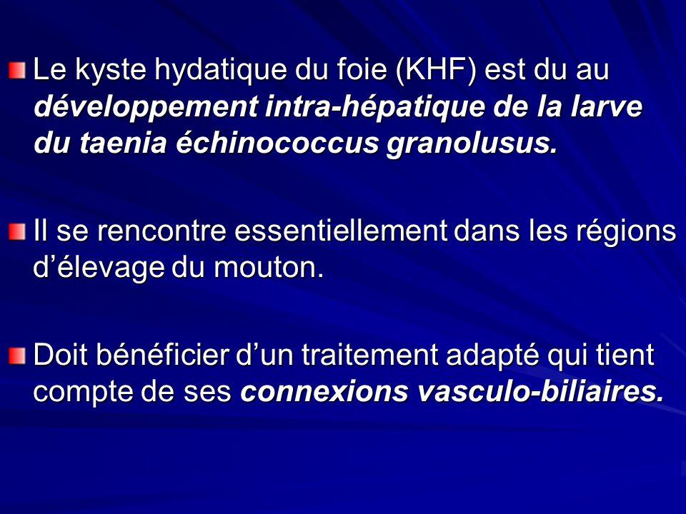 Le kyste hydatique du foie (KHF) est du au développement intra-hépatique de la larve du taenia échinococcus granolusus. Il se rencontre essentiellemen