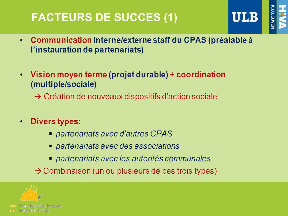 FACTEURS DE SUCCES (1) Communication interne/externe staff du CPAS (préalable à linstauration de partenariats) Vision moyen terme (projet durable) + c