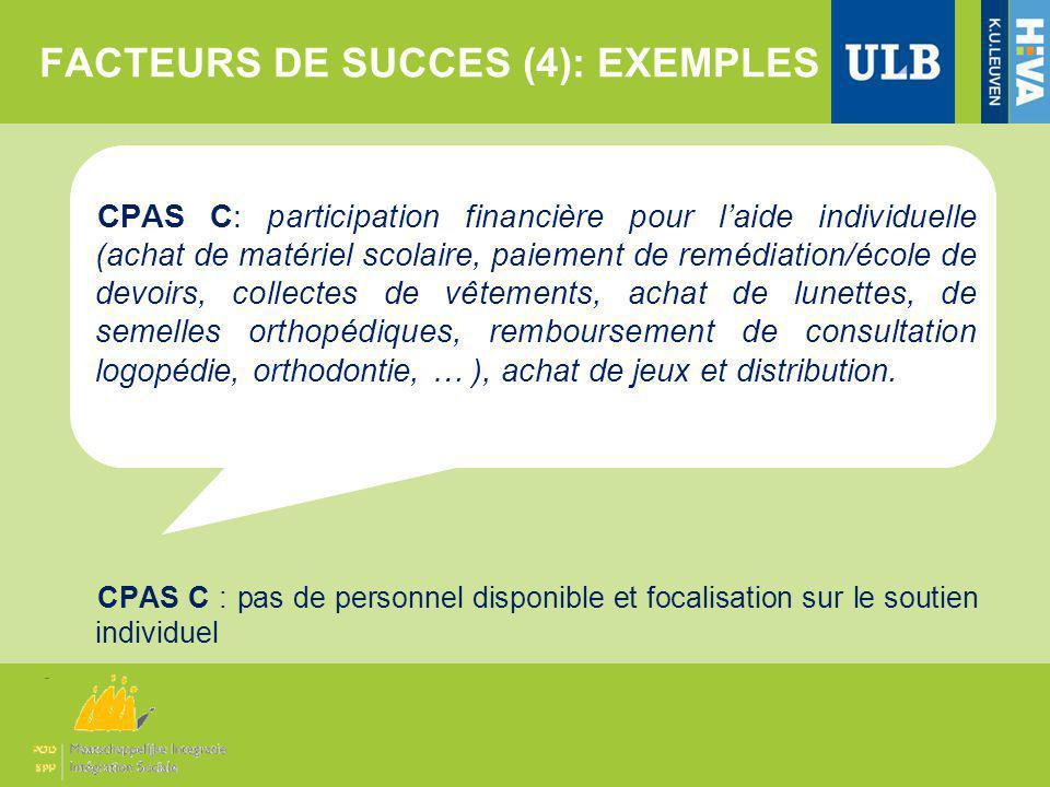 FACTEURS DE SUCCES (4): EXEMPLES CPAS C: participation financière pour laide individuelle (achat de matériel scolaire, paiement de remédiation/école d