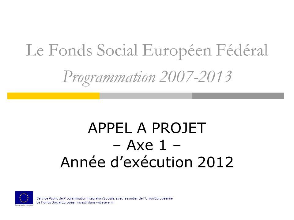 Le Fonds Social Européen Fédéral Programmation 2007-2013 APPEL A PROJET – Axe 1 – Année dexécution 2012 Service Public de Programmation Int é gration Sociale, avec le soutien de l Union Europ é enne Le Fonds Social Europ é en investit dans votre avenir