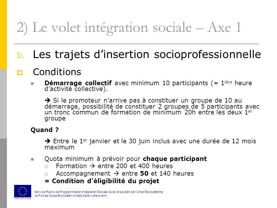 2) Le volet intégration sociale – Axe 1 b.