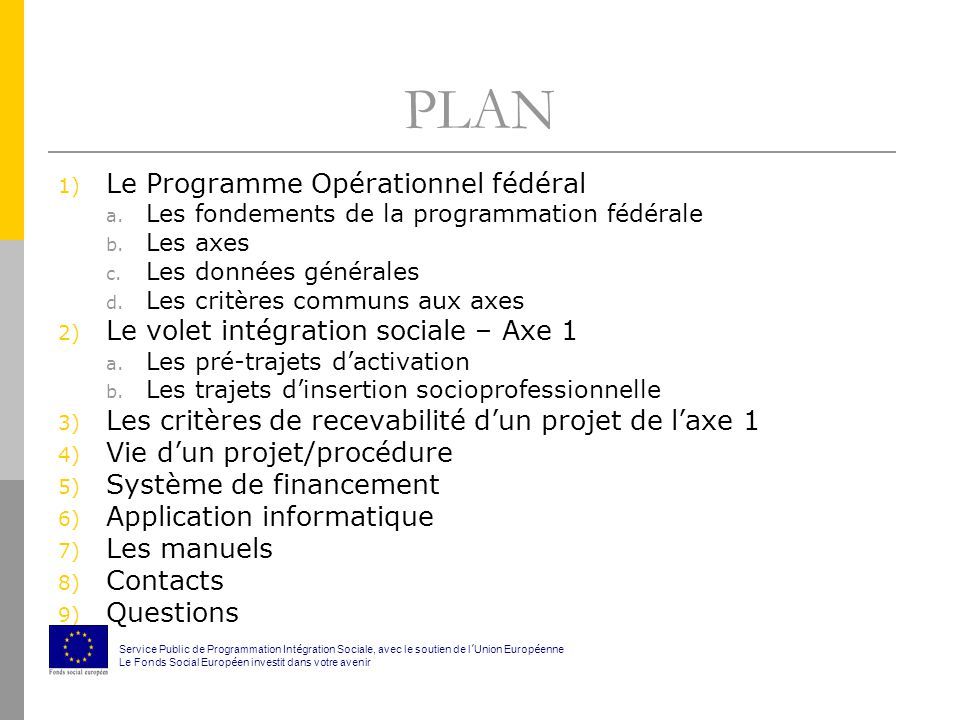 PLAN 1) Le Programme Opérationnel fédéral a. Les fondements de la programmation fédérale b.