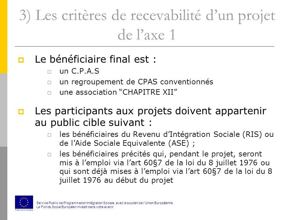 3) Les critères de recevabilité dun projet de laxe 1 Le bénéficiaire final est : un C.P.A.S un regroupement de CPAS conventionnés une association CHAPITRE XII Les participants aux projets doivent appartenir au public cible suivant : les bénéficiaires du Revenu dIntégration Sociale (RIS) ou de lAide Sociale Equivalente (ASE) ; les bénéficiaires précités qui, pendant le projet, seront mis à lemploi via lart 60§7 de la loi du 8 juillet 1976 ou qui sont déjà mises à lemploi via lart 60§7 de la loi du 8 juillet 1976 au début du projet Service Public de Programmation Int é gration Sociale, avec le soutien de l Union Europ é enne Le Fonds Social Europ é en investit dans votre avenir