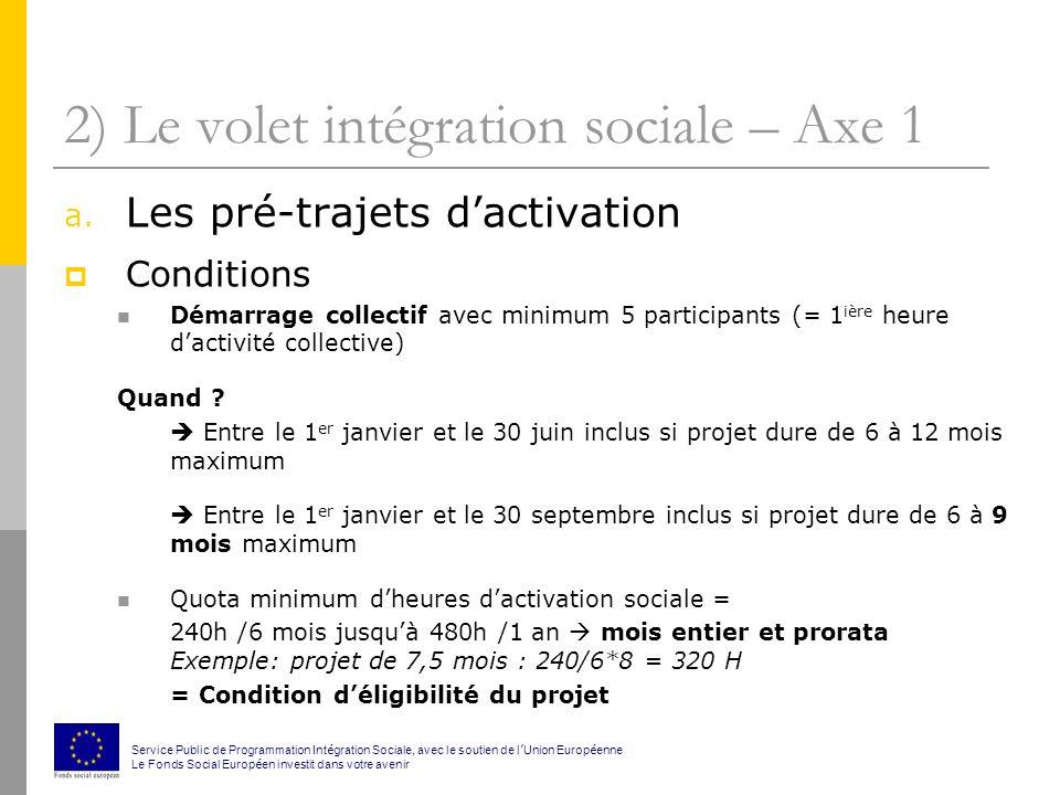 2) Le volet intégration sociale – Axe 1 a.
