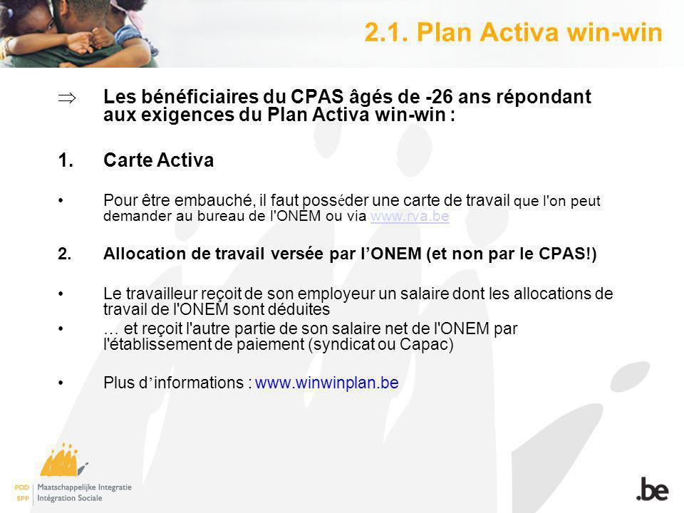 2.1. Plan Activa win-win Les bénéficiaires du CPAS âgés de -26 ans répondant aux exigences du Plan Activa win-win : 1.Carte Activa Pour être embauché,