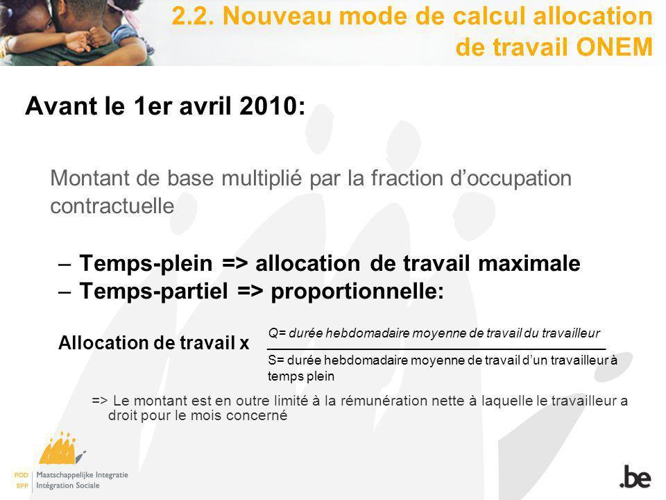 2.2. Nouveau mode de calcul allocation de travail ONEM Avant le 1er avril 2010: Montant de base multiplié par la fraction doccupation contractuelle –T
