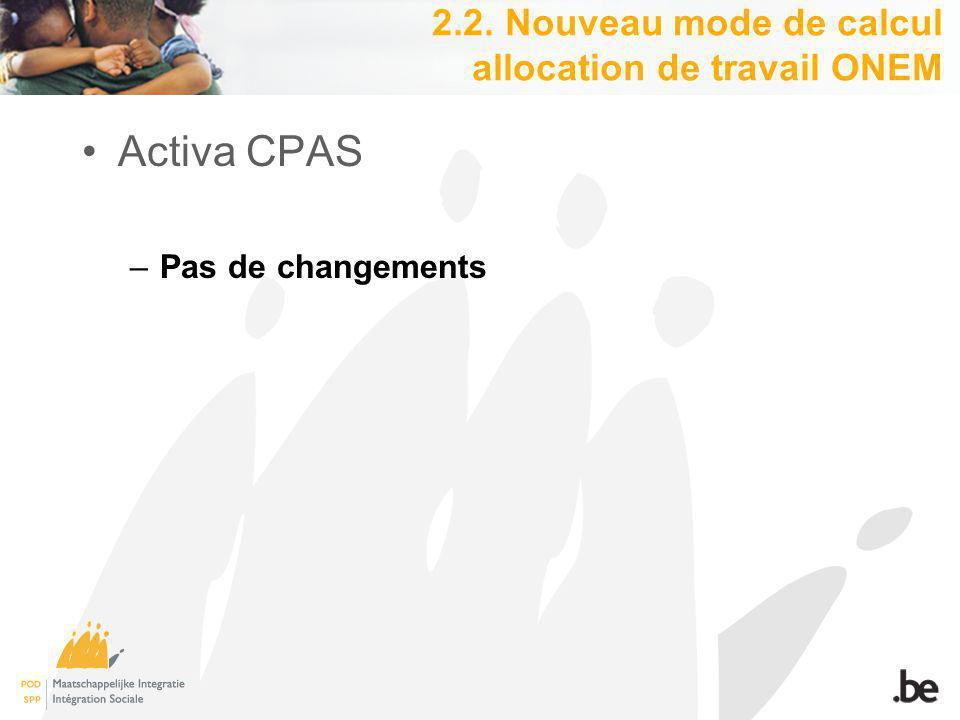 Activa CPAS –Pas de changements