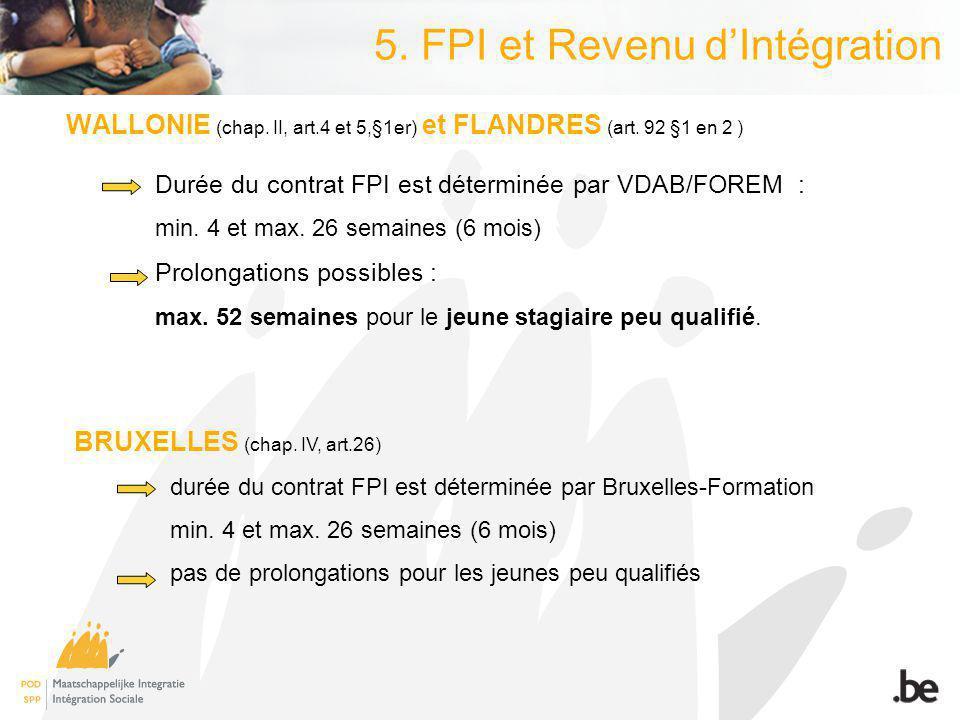 5. FPI et Revenu dIntégration WALLONIE (chap. II, art.4 et 5,§1er) et FLANDRES (art.