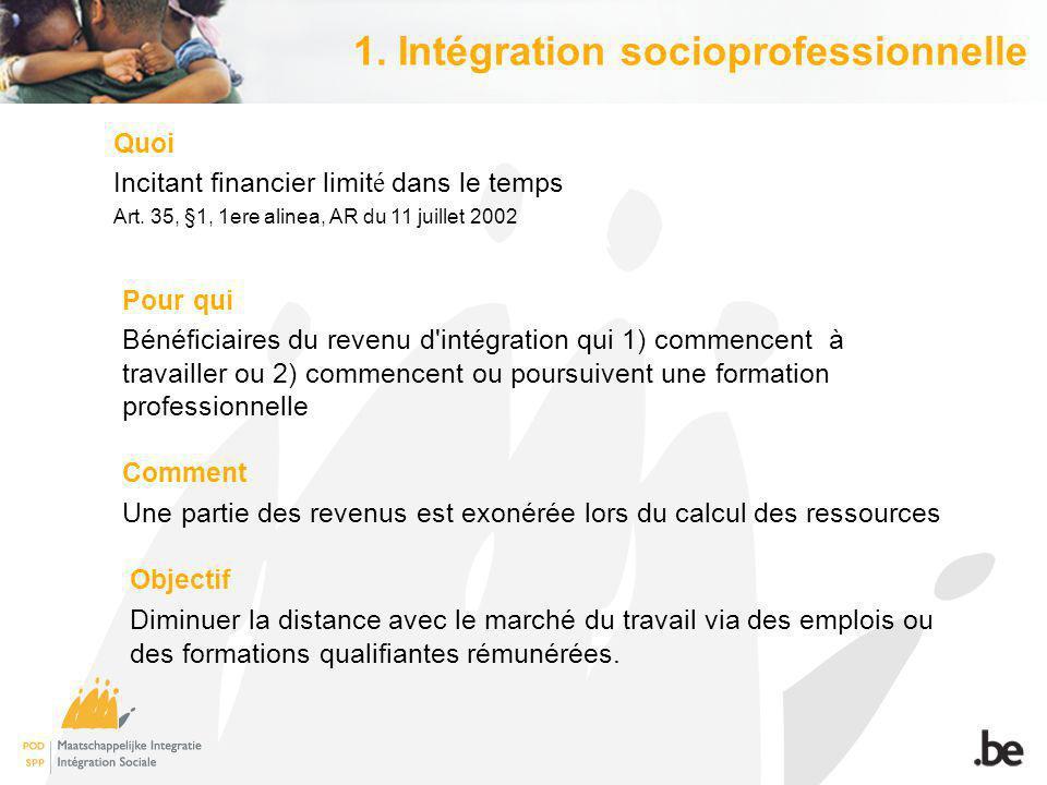 1. Intégration socioprofessionnelle Quoi Incitant financier limit é dans le temps Art.