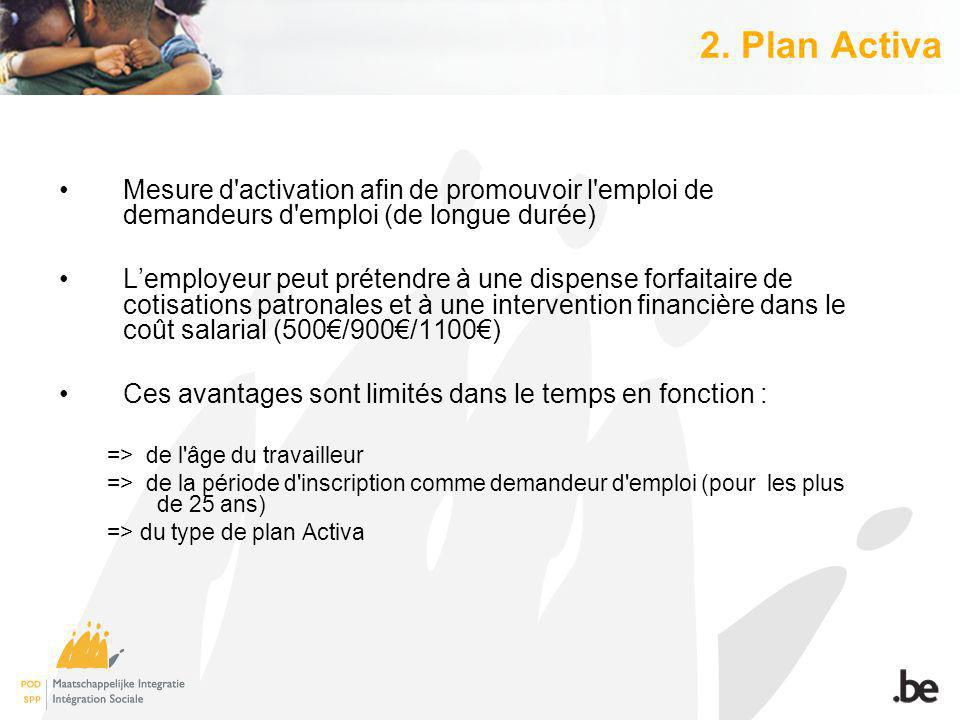 2. Plan Activa Mesure d'activation afin de promouvoir l'emploi de demandeurs d'emploi (de longue durée) Lemployeur peut prétendre à une dispense forfa
