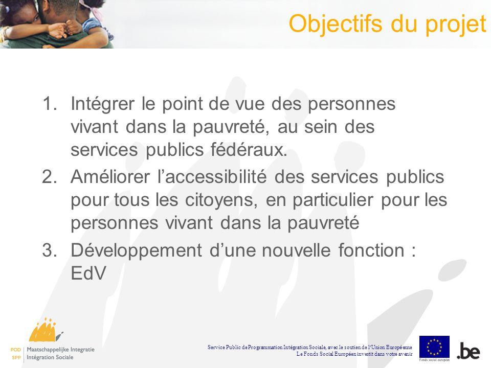 Objectifs du projet 1.Intégrer le point de vue des personnes vivant dans la pauvreté, au sein des services publics fédéraux.