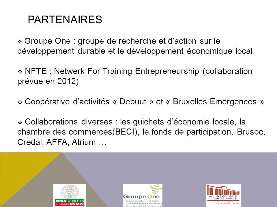 Groupe One : groupe de recherche et daction sur le développement durable et le développement économique local NFTE : Netwerk For Training Entrepreneurship (collaboration prévue en 2012) Coopérative dactivités « Debuut » et « Bruxelles Emergences » Collaborations diverses : les guichets déconomie locale, la chambre des commerces(BECI), le fonds de participation, Brusoc, Credal, AFFA, Atrium … PARTENAIRES