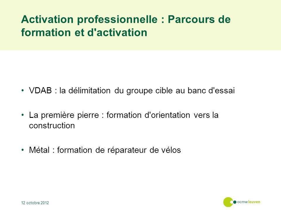 Activation professionnelle : Parcours de formation et d'activation VDAB : la délimitation du groupe cible au banc d'essai La première pierre : formati