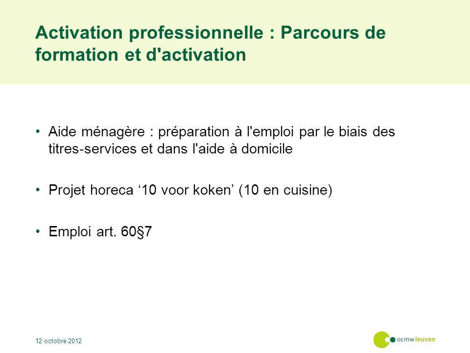 Activation professionnelle : Coopération avec les partenaires Formations Coordination des projets Accompagnements individuels Le comité de pilotage évalue et adapte la coopération 12 octobre 2012