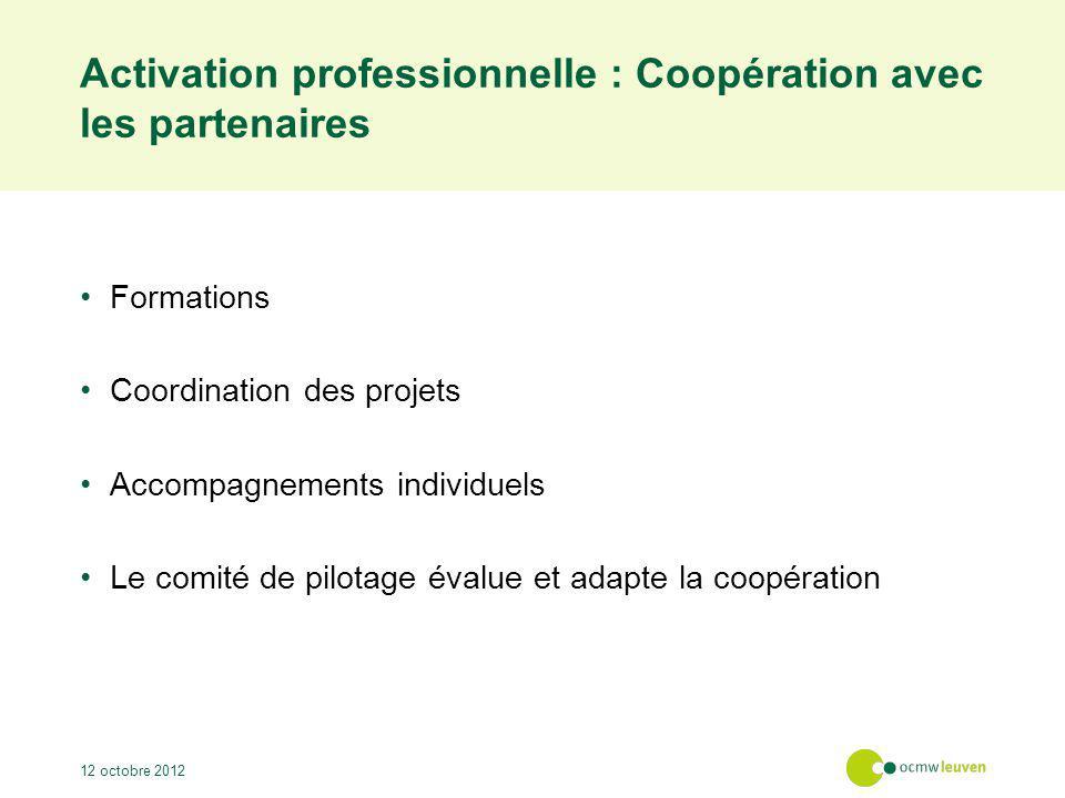 Activation professionnelle : Approche orientée client Emploi durable Opportunités de formation Accompagnement intensif et soutien 12 octobre 2012