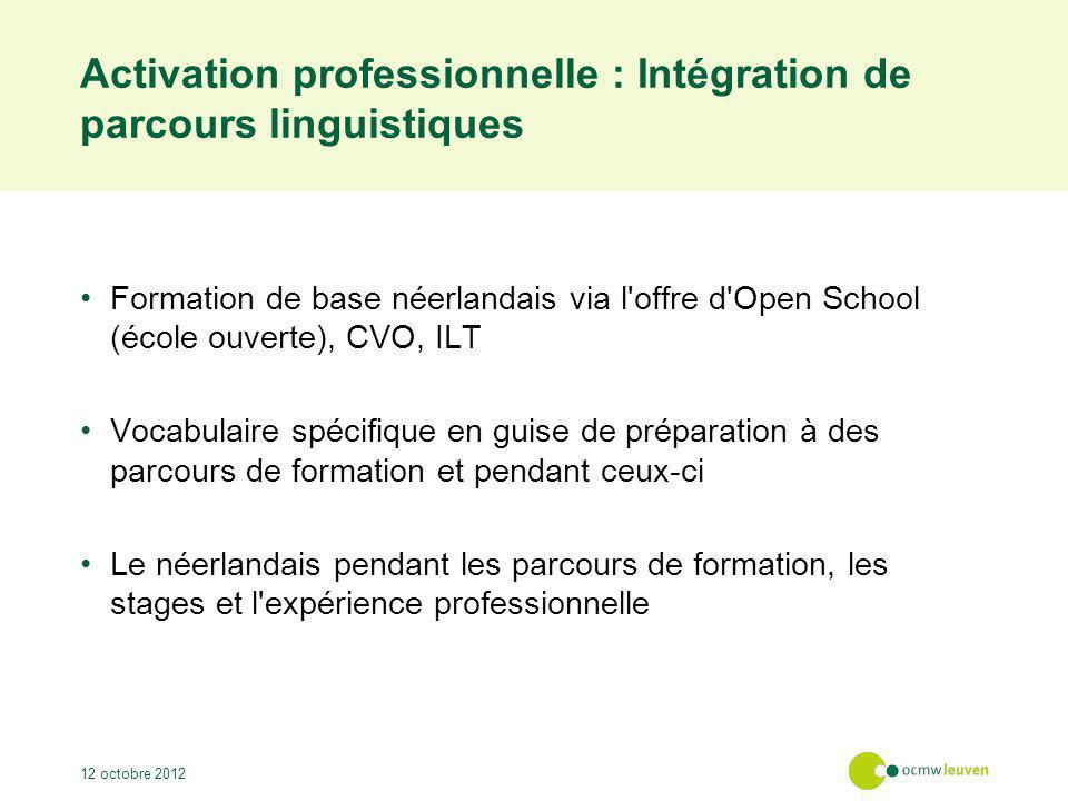 Activation professionnelle : Intégration de parcours linguistiques Formation de base néerlandais via l'offre d'Open School (école ouverte), CVO, ILT V