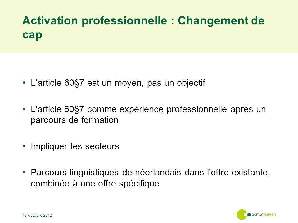 Activation professionnelle : Changement de cap L'article 60§7 est un moyen, pas un objectif L'article 60§7 comme expérience professionnelle après un p