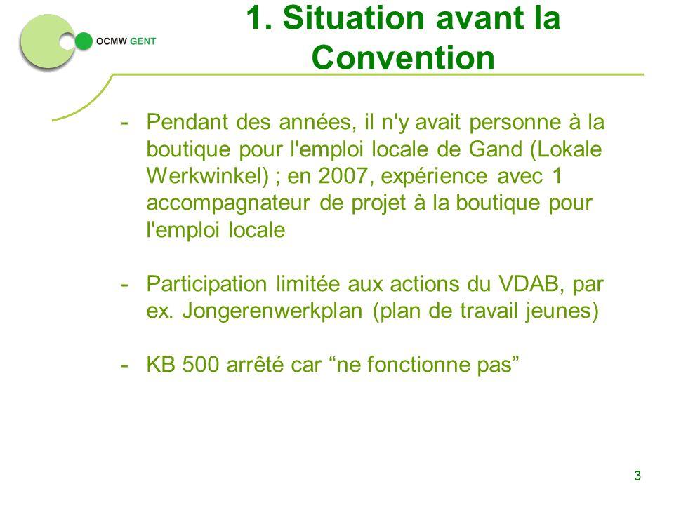 3 1. Situation avant la Convention -Pendant des années, il n'y avait personne à la boutique pour l'emploi locale de Gand (Lokale Werkwinkel) ; en 2007