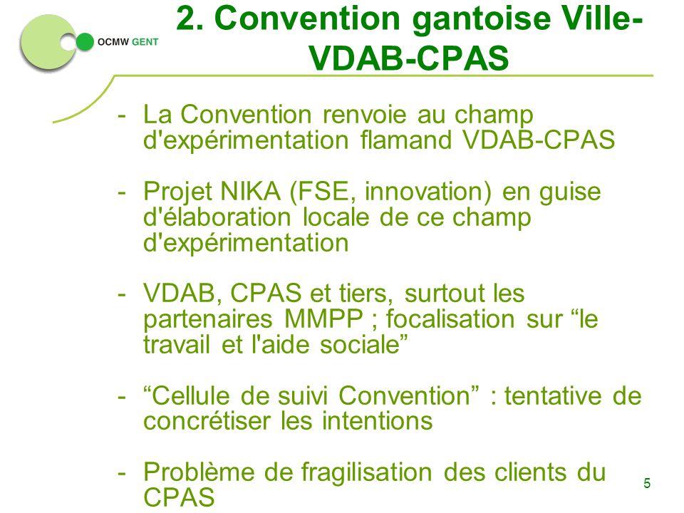 5 2. Convention gantoise Ville- VDAB-CPAS -La Convention renvoie au champ d'expérimentation flamand VDAB-CPAS -Projet NIKA (FSE, innovation) en guise