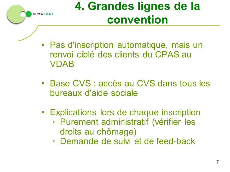 7 4. Grandes lignes de la convention Pas d'inscription automatique, mais un renvoi ciblé des clients du CPAS au VDAB Base CVS : accès au CVS dans tous