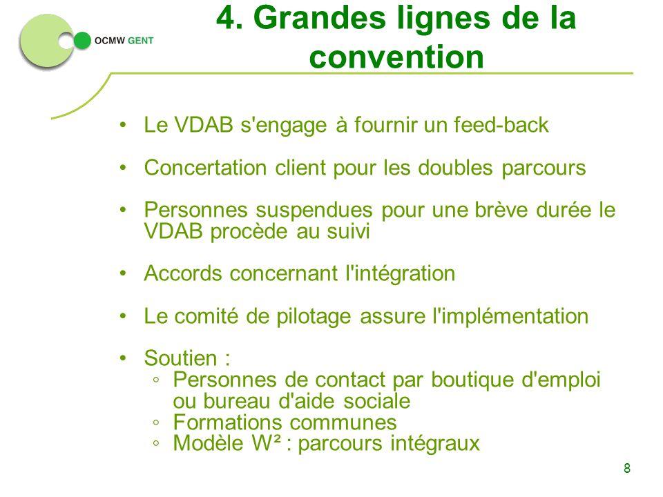 8 4. Grandes lignes de la convention Le VDAB s'engage à fournir un feed-back Concertation client pour les doubles parcours Personnes suspendues pour u