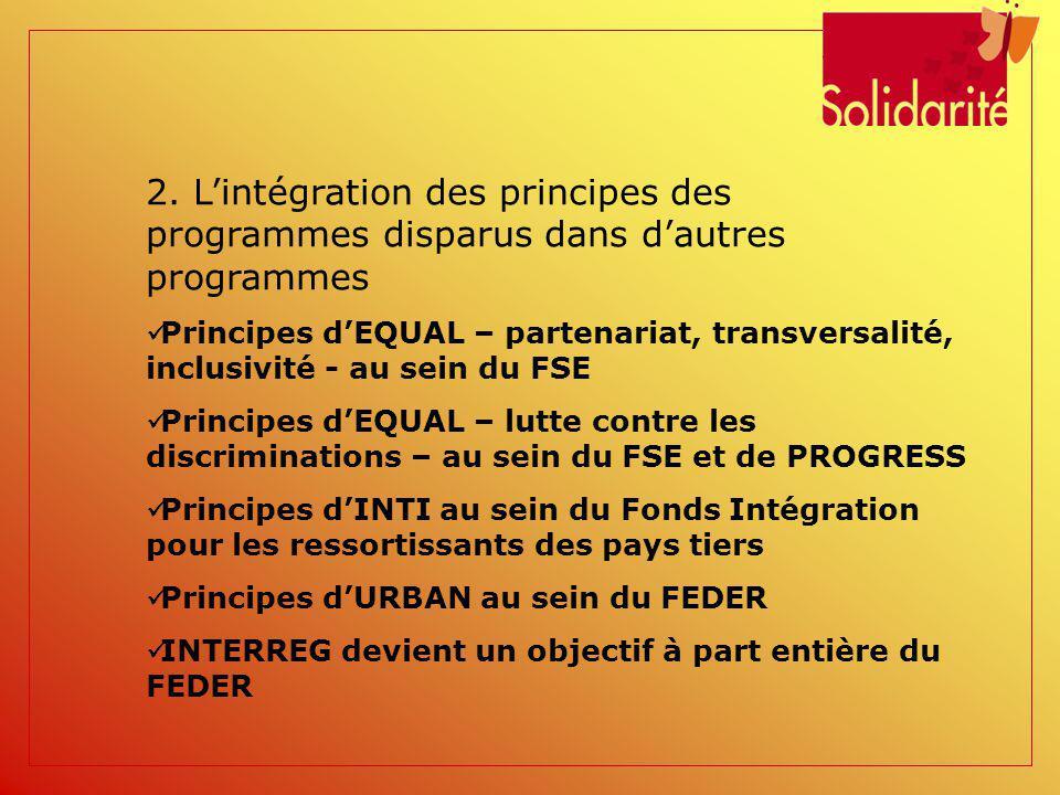 2. Lintégration des principes des programmes disparus dans dautres programmes Principes dEQUAL – partenariat, transversalité, inclusivité - au sein du