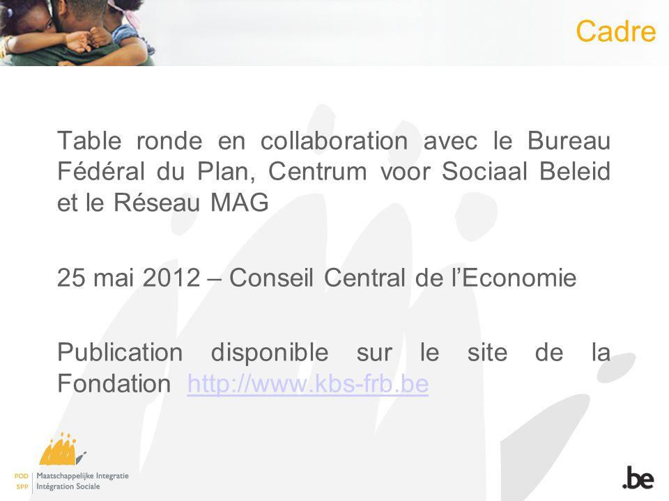 Table ronde en collaboration avec le Bureau Fédéral du Plan, Centrum voor Sociaal Beleid et le Réseau MAG 25 mai 2012 – Conseil Central de lEconomie Publication disponible sur le site de la Fondation http://www.kbs-frb.behttp://www.kbs-frb.be Cadre