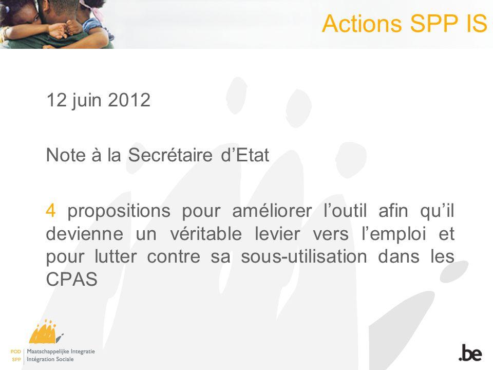 Actions SPP IS 12 juin 2012 Note à la Secrétaire dEtat 4 propositions pour améliorer loutil afin quil devienne un véritable levier vers lemploi et pou