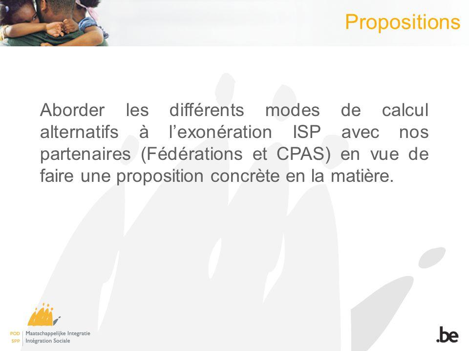 Propositions Aborder les différents modes de calcul alternatifs à lexonération ISP avec nos partenaires (Fédérations et CPAS) en vue de faire une prop