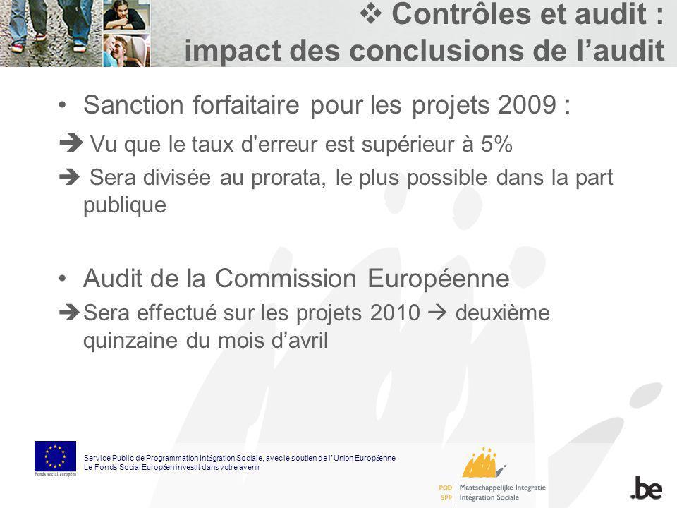 Contrôles et audit : impact des conclusions de laudit Sanction forfaitaire pour les projets 2009 : Vu que le taux derreur est supérieur à 5% Sera divi