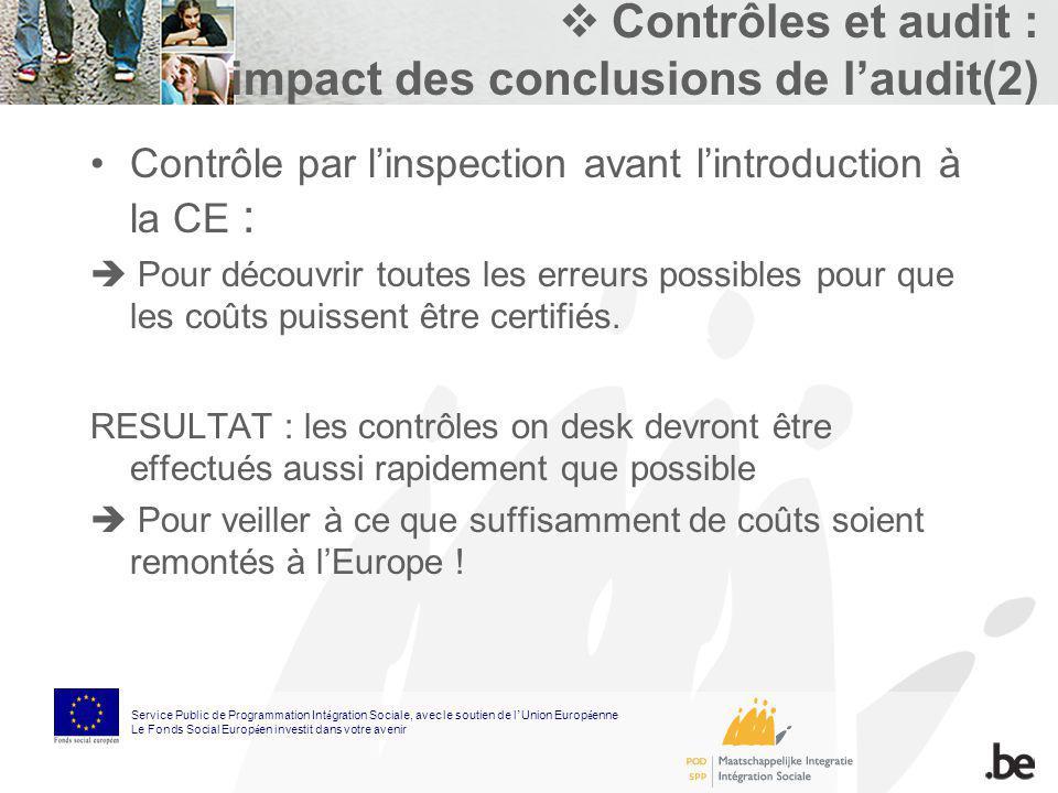 Contrôles et audit : impact des conclusions de laudit(2) Contrôle par linspection avant lintroduction à la CE : Pour découvrir toutes les erreurs poss