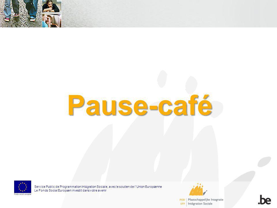 Pause-café Service Public de Programmation Int é gration Sociale, avec le soutien de l Union Europ é enne Le Fonds Social Europ é en investit dans vot