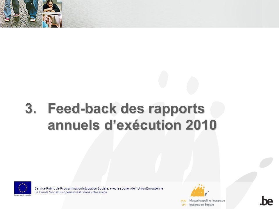 3.Feed-back des rapports annuels dexécution 2010 Service Public de Programmation Int é gration Sociale, avec le soutien de l Union Europ é enne Le Fon