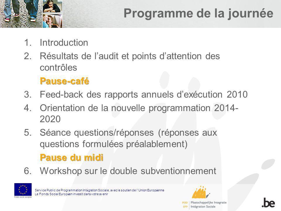 Programme de la journée Service Public de Programmation Int é gration Sociale, avec le soutien de l Union Europ é enne Le Fonds Social Europ é en inve