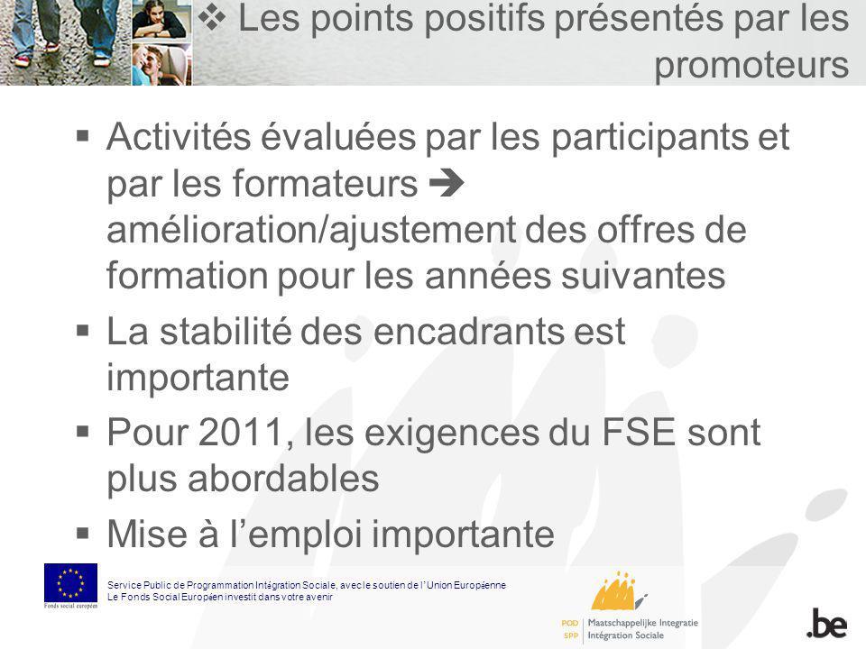 Les points positifs présentés par les promoteurs Activités évaluées par les participants et par les formateurs amélioration/ajustement des offres de f