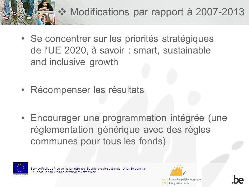 Modifications par rapport à 2007-2013 Se concentrer sur les priorités stratégiques de lUE 2020, à savoir : smart, sustainable and inclusive growth Réc