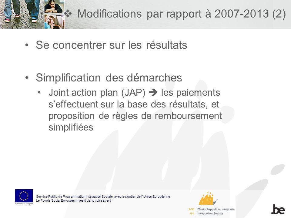 Modifications par rapport à 2007-2013 (2) Se concentrer sur les résultats Simplification des démarches Joint action plan (JAP) les paiements seffectue
