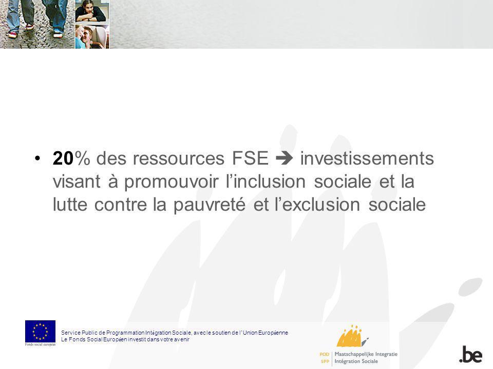 20% des ressources FSE investissements visant à promouvoir linclusion sociale et la lutte contre la pauvreté et lexclusion sociale Service Public de P